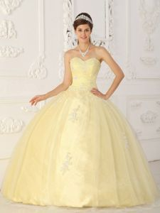 9fb14235f57 Light Yellow Ball Gown Appliques Sweetheart Floor-length dress for ...