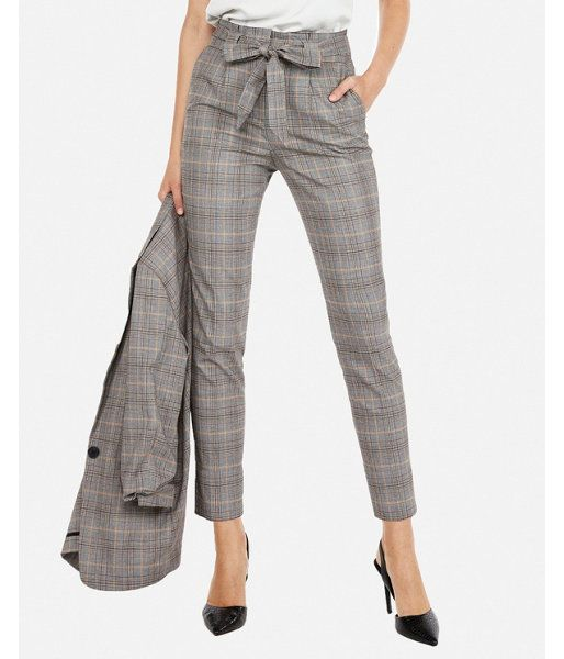 7a012c562283 Petite High Waisted Plaid Paperbag Ankle Pant Gray Women's 10 Petite ...