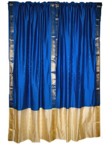 2 India Silk Sari Curtain Drape Royal Blue Saree Curtains Drapes