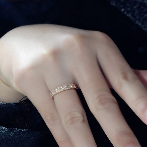 Fashion Rose Gold Plated Titanium Steel 3mm Depth Frosted Cheap Women Gift Rings  US Size 4 to Size 10 available
