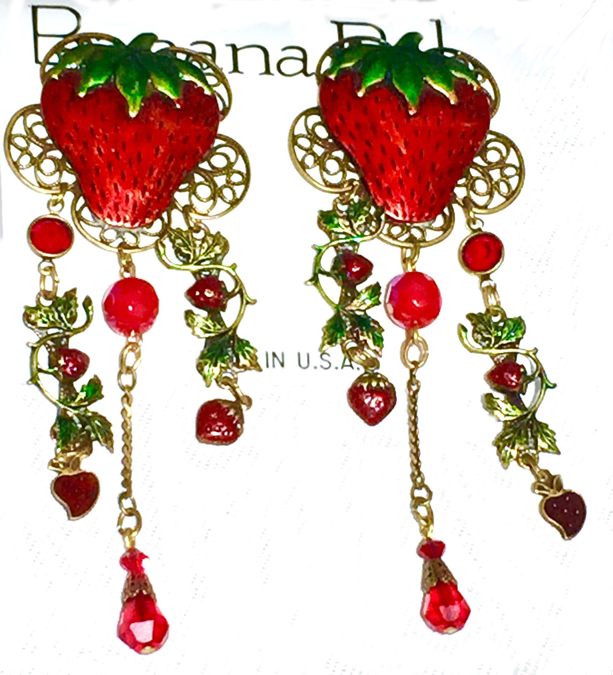 STRAWBERRY crystal CUTE EARRINGS red//green SPARKLY RHINESTONE gold//silver tone