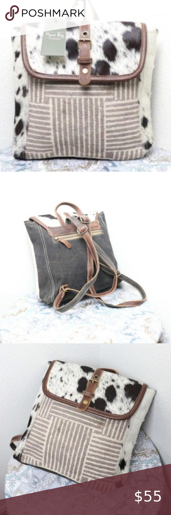 🆕 Myra Bag COWHIDE Leather Backpack Purse Travel ❤️Myra Bag. Ships NEXT business day...Always! ❤️Rug, Hairon, Canvas, Leather ❤️1 exterior zipper pocket ❤️Interior 2 slip pockets 1 zipper pocket ❤️Zipper Enclosure  Measurements: Width: 14.5 in / 37 cm Depth: 4 in / 10 cm Height: 11.5 in / 29 cm Handle: 4 in / 10 cm   CONDITION: New Myra Bag Smoke free pet free environment  L158101586.C0204.P0502.001 Myra Bag Bags Backpacks