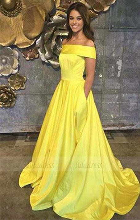 7d916b4ef70f0 Yellow Prom Dresses,Off The Shoulder Prom Dresses,A Line Prom Dress ...