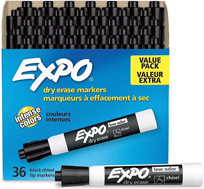 Amazon Com Expo 1920940 Low Odor Dry Erase Markers Chisel Tip Black 36 Count Pack Of 1 Office Products In 2020 Dry Erase Markers Dry Erase Markers