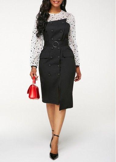 911192c4 Black Long Sleeve Asymmetrical Work Sheath Dress Asymmetric Hem Front Slit  Sheath Dress