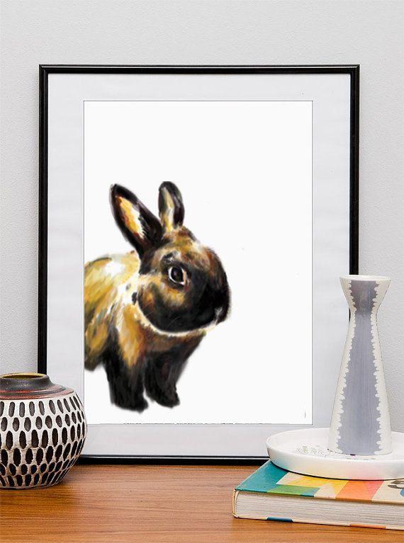 Bunny RABBIT Art Print, Rabbit Decor, Watercolor RABBIT Painting ...