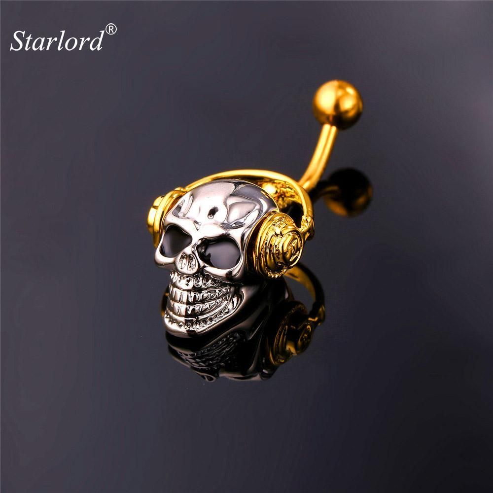 Belly button piercing names  Gothic Body Jewelry Skeleton Skull With Walkman Music Belly Button