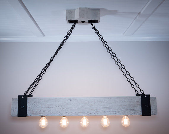The Scantling 6ft Rustic Industrial Beam Chandelier With Metal Straps Forged Chain And Edison Bulbs Wood Beams