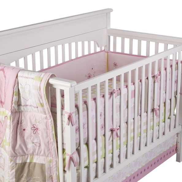 Target Laura Ashley Love 6 Pc Baby Crib Bedding Set Pink With Green White And Light Brown Image Zoom