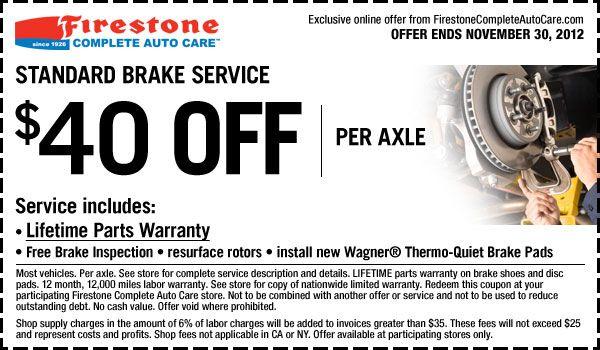 Brake Service Coupons >> 40 Off Standard Brake Service In Store Printable Firestone