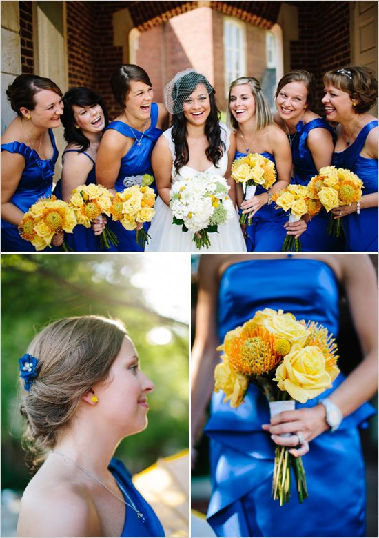 bridesmaid dresses. Kind of the colors I was thinking of. Royal ...