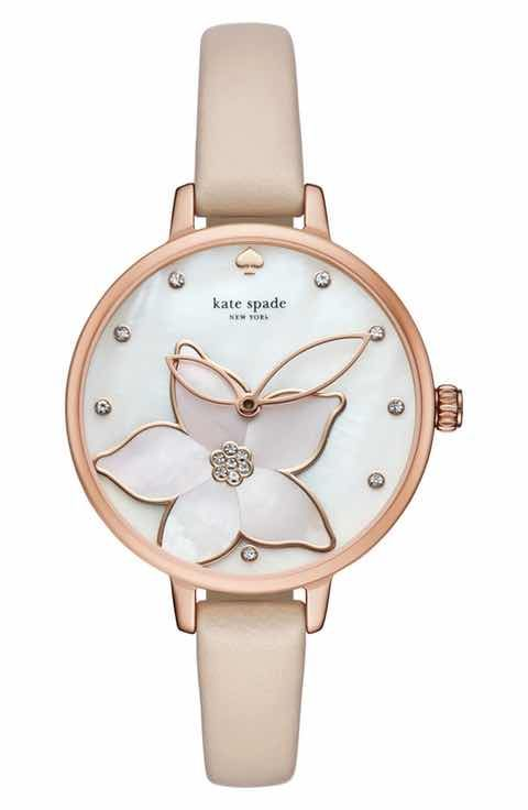 kate spade new york flower leather strap watch 11750955c20