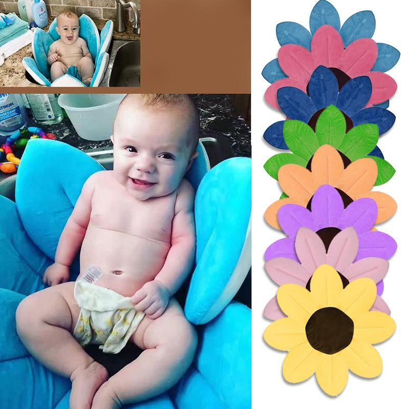 Foldable Baby Bath Flower Bath Tub Newborn Non-Slip Safety Sink Bath for Baby Play Bath Sunflower Cushion Mat Blooming Baby Bathtub Lotus dark blue