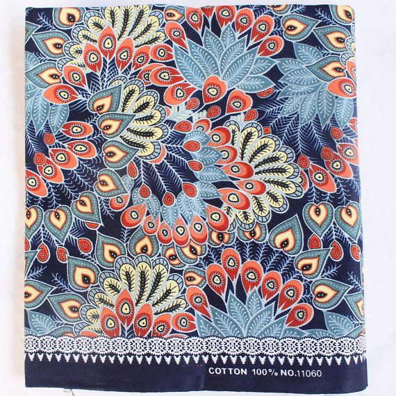 Vintage Blue Peacock Traditional Thai Batik Stylebatik By