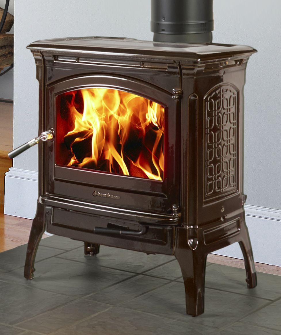 Hearthstone Craftsbury wood stove in Brown Mahogany high gloss ...