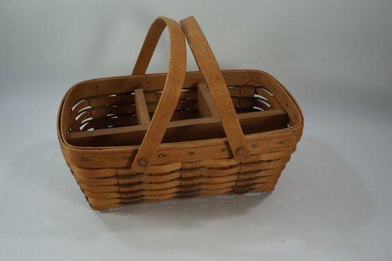Longaberger Baskets, Basket w/ Handle, Caddy Basket, Handwoven ...
