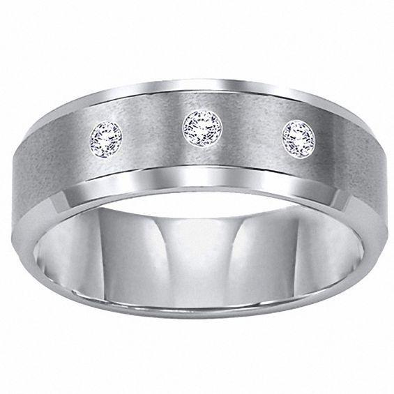 Zales Triton Mens 6.0mm Diamond Accent Comfort Fit Tungsten Carbide Wedding Band OKNbw