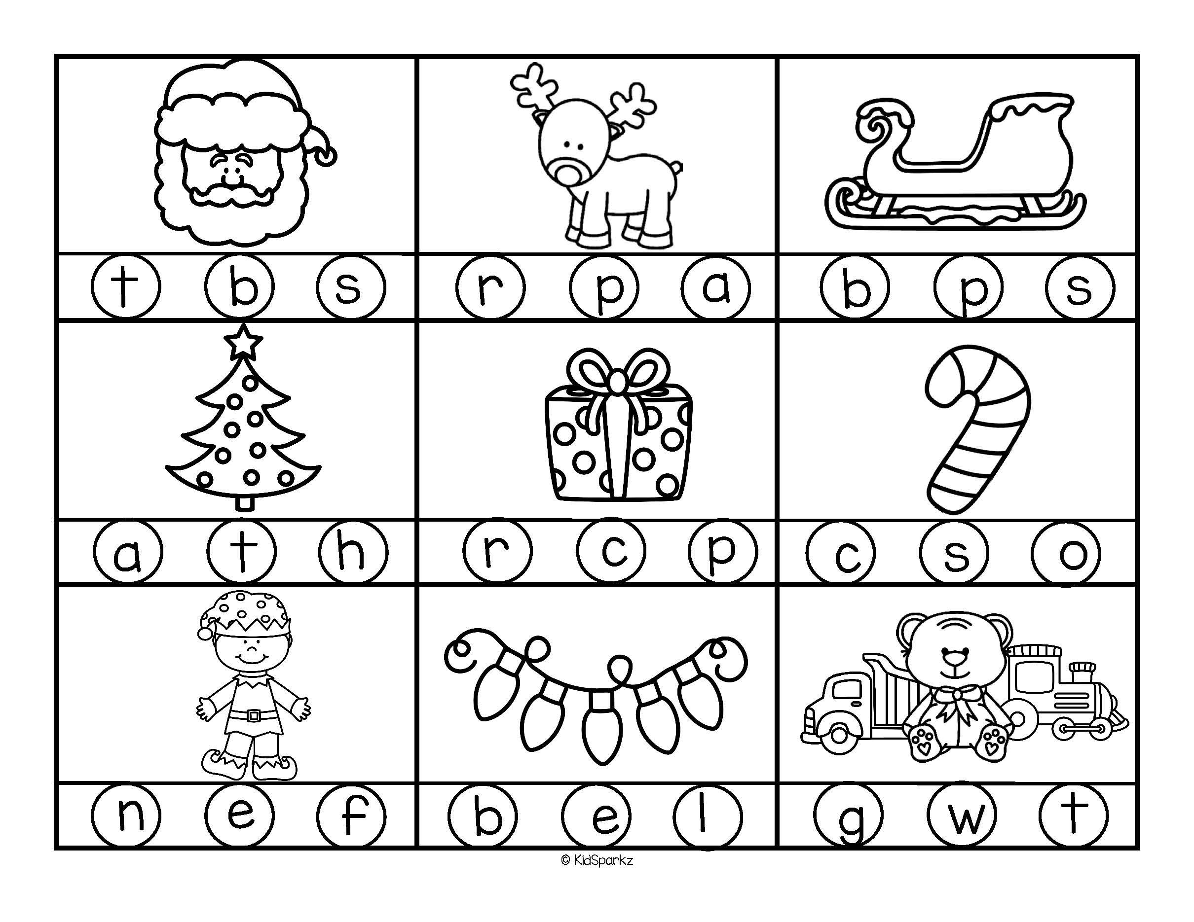 Christmas Initial Beginning Sounds Stamp Or Color In B W