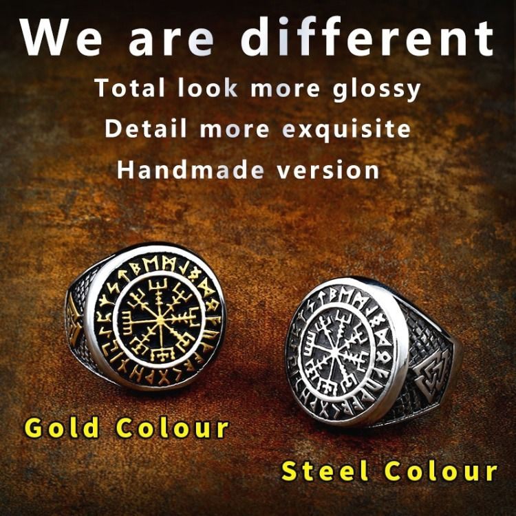 316L Stainless Steel Nordic Viking Ring Custom Rune beads