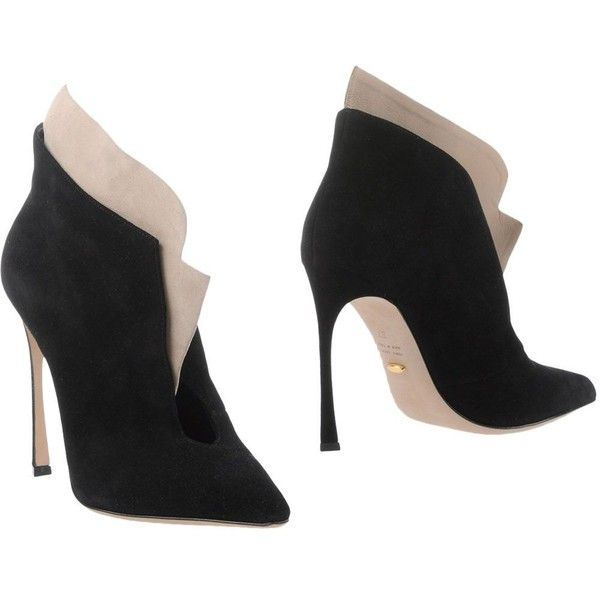 Sergio Rossi Ankle Boots (4 255 SEK) ❤ liked on Polyvore featuring shoes, boots, ankle booties, black, short black boots, black bootie, black leather bootie, black booties e leather sole boots