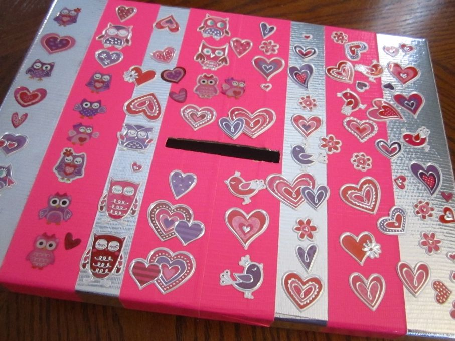 DIY Valentine box from gift box...from Moms Just Want To Have Fun
