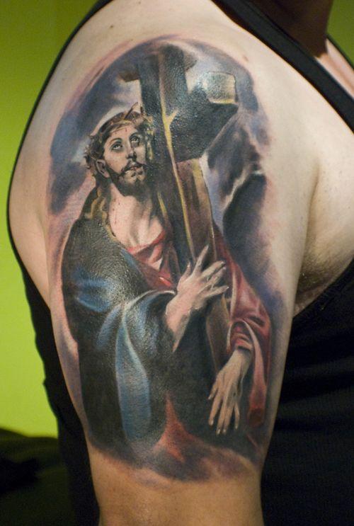 Christ Carrying the Cross Tattoo   Tattoos   Jesus tattoo design ...