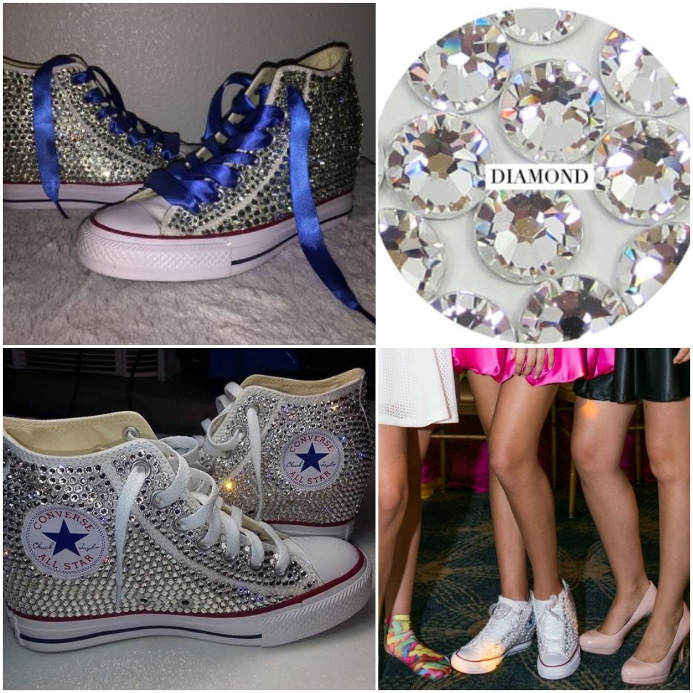 e9c9da97ef32 All Star Original Hi Top Wedges Style Converse With Diamonds   White Ribbon  Laces