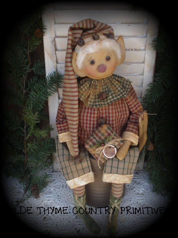 Primitive Olde Santa\'s Elf Doll~Christmas | hadas duendesy brujas ...