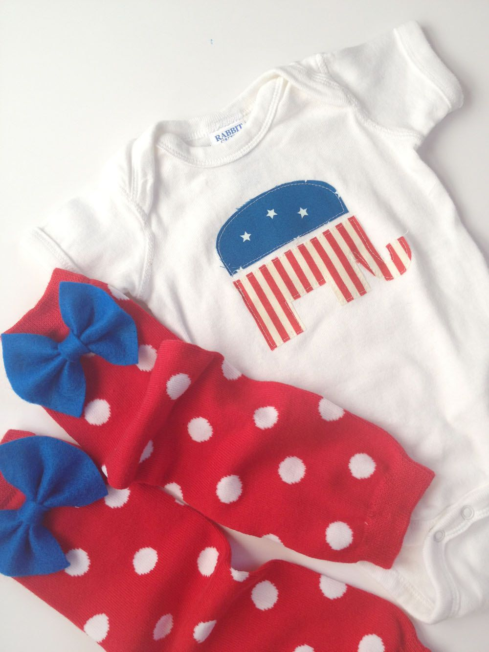 Republican elephant long sleeve one piece with red and white polka