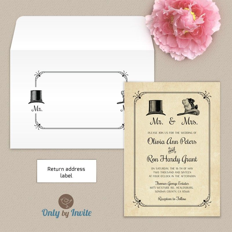 Vintage Mr & Mrs wedding invitation | Wedding invitation and ...