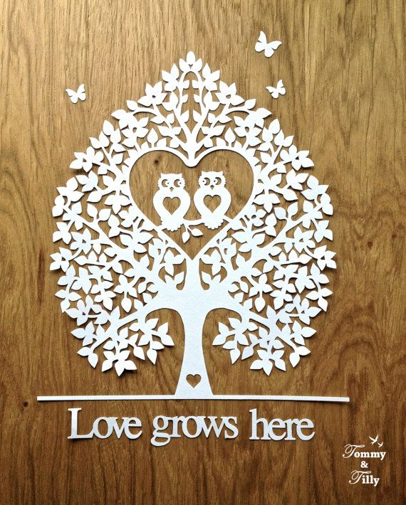 Svg Pdf Love Owl Tree Design Papercutting Template To Print And