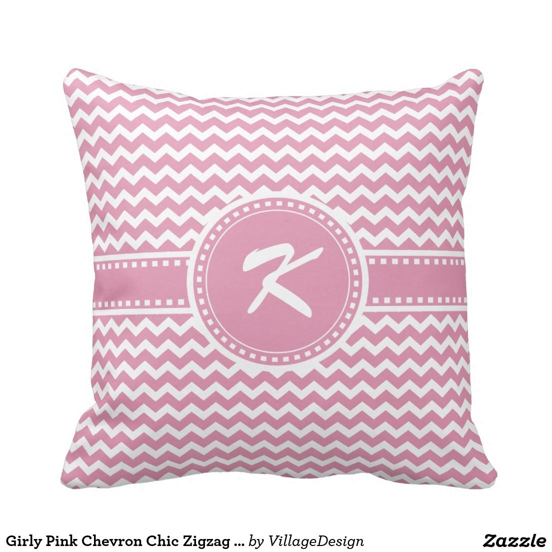 Girly Pink Chevron Chic Zigzag Stripes Pillow