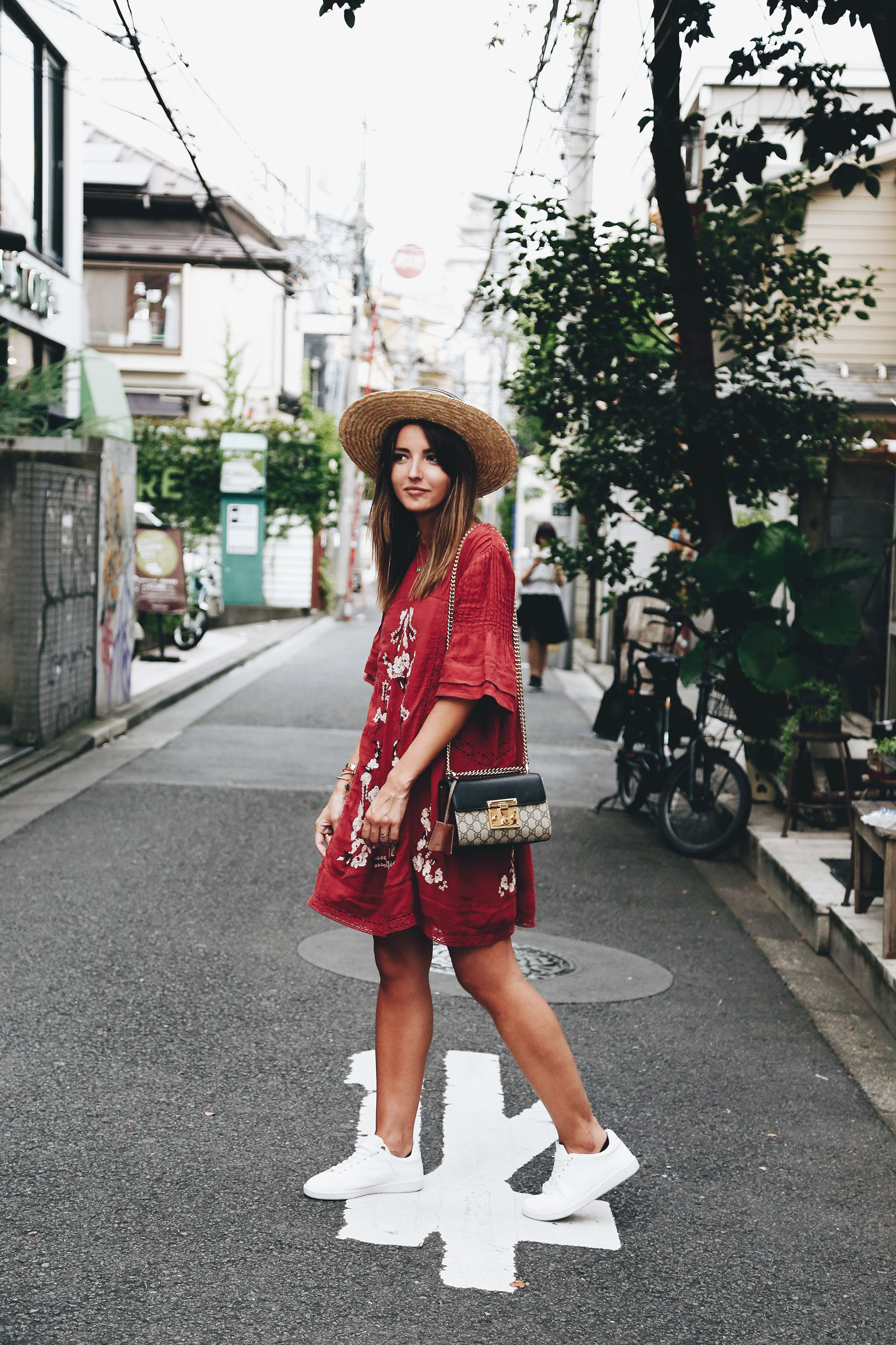 80a27119dc2 Brick red embroidery dress+white sneakers+straw hat+black and beige short  Gucci Dionysus shoulder bag. Late Summer Outfit 2016