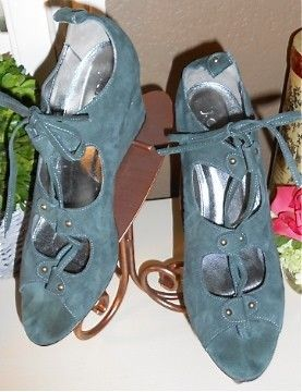 938c7fd63181 Auth  295 J Crew Lana Lace Up Green Suede Wedge Shoes 9 5