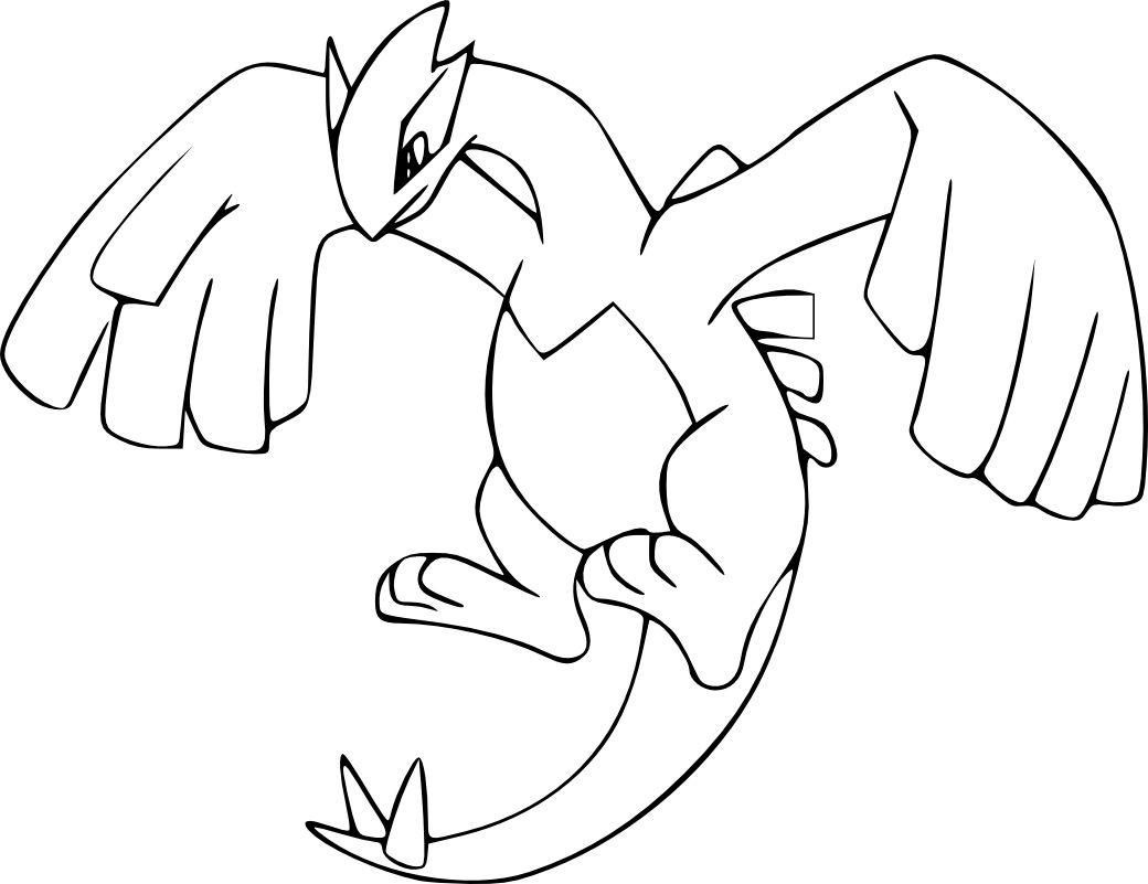 Coloriage Lugia Pokemon Legendaire A Imprimer Et Colorier Waouo