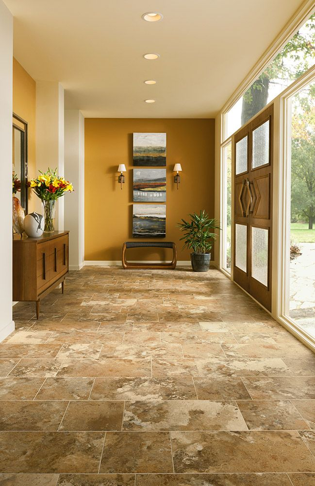 Armstrong Luxury Vinyl Tile LVT Tan Travertine Look