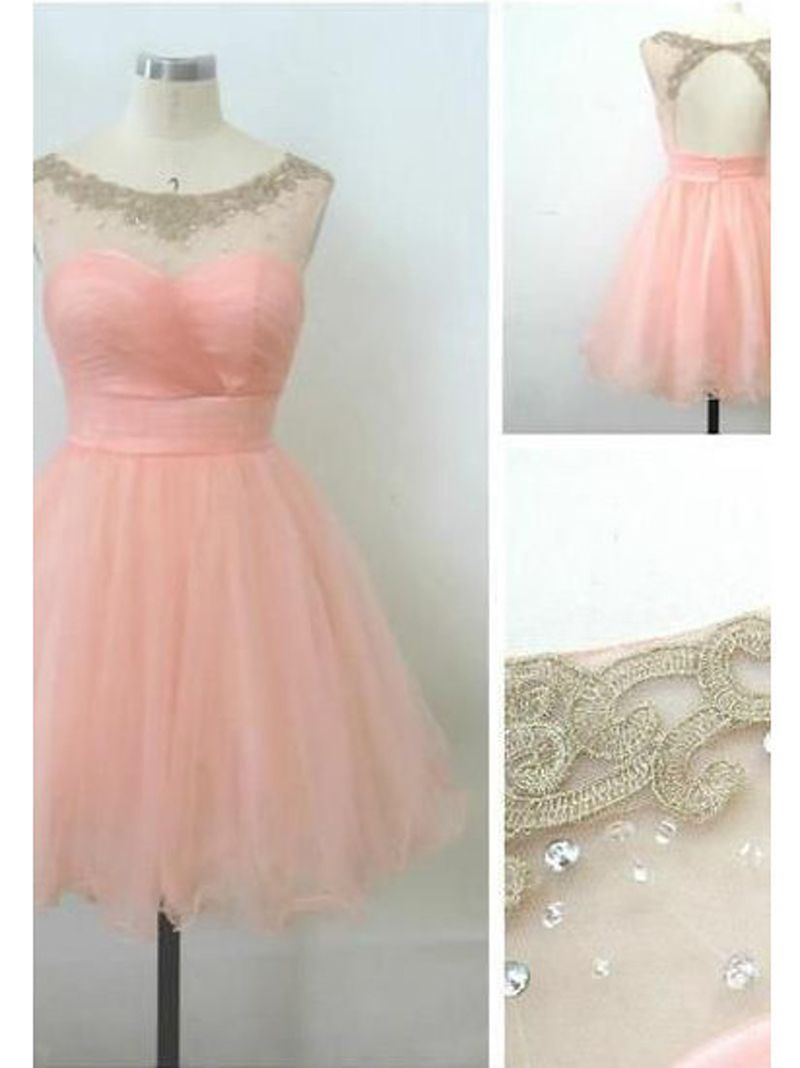 Free shipping real samples a line pink tulle above knee length