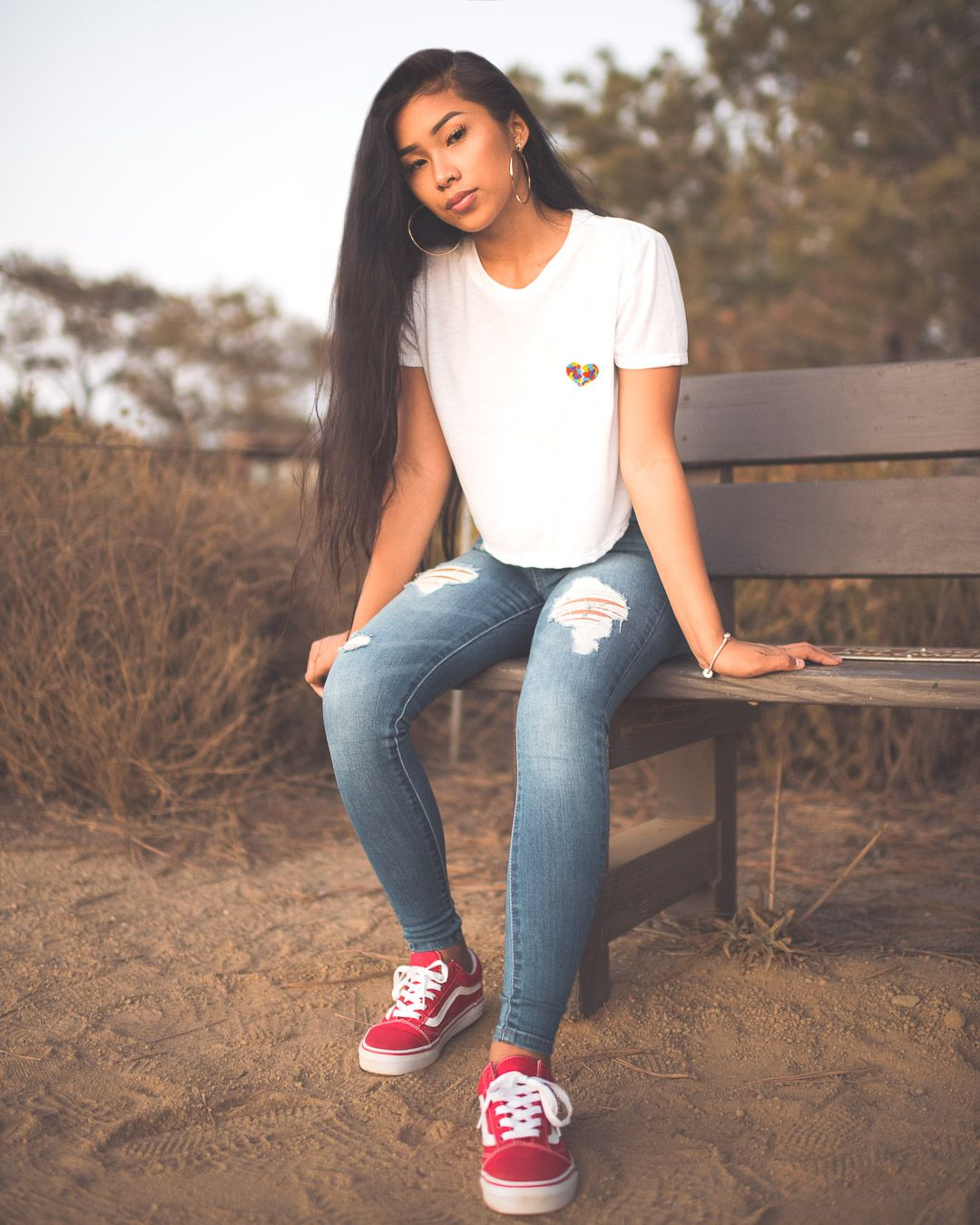 Broken Heart Embroidered Tees Trendy Spring Outfits Simple