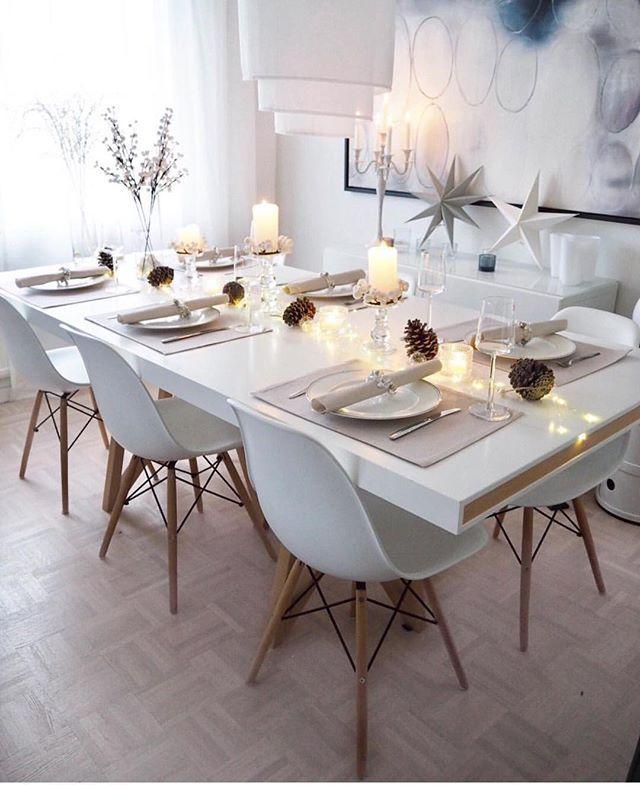 schöne schlichte Tischdeko für die Weihnachtszeit