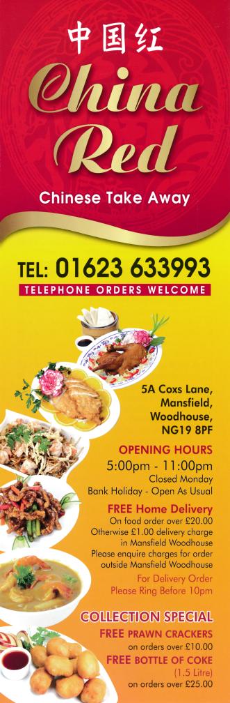 Menu For China Red Chinese Takeaway And Delivery In Mansfield Woodhouse Chinese Takeaway Chinese Takeaway Menu Food