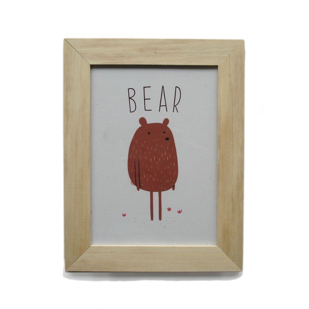 cuadro decorativo bear. marco de madera con vidrio. | accesorios ...