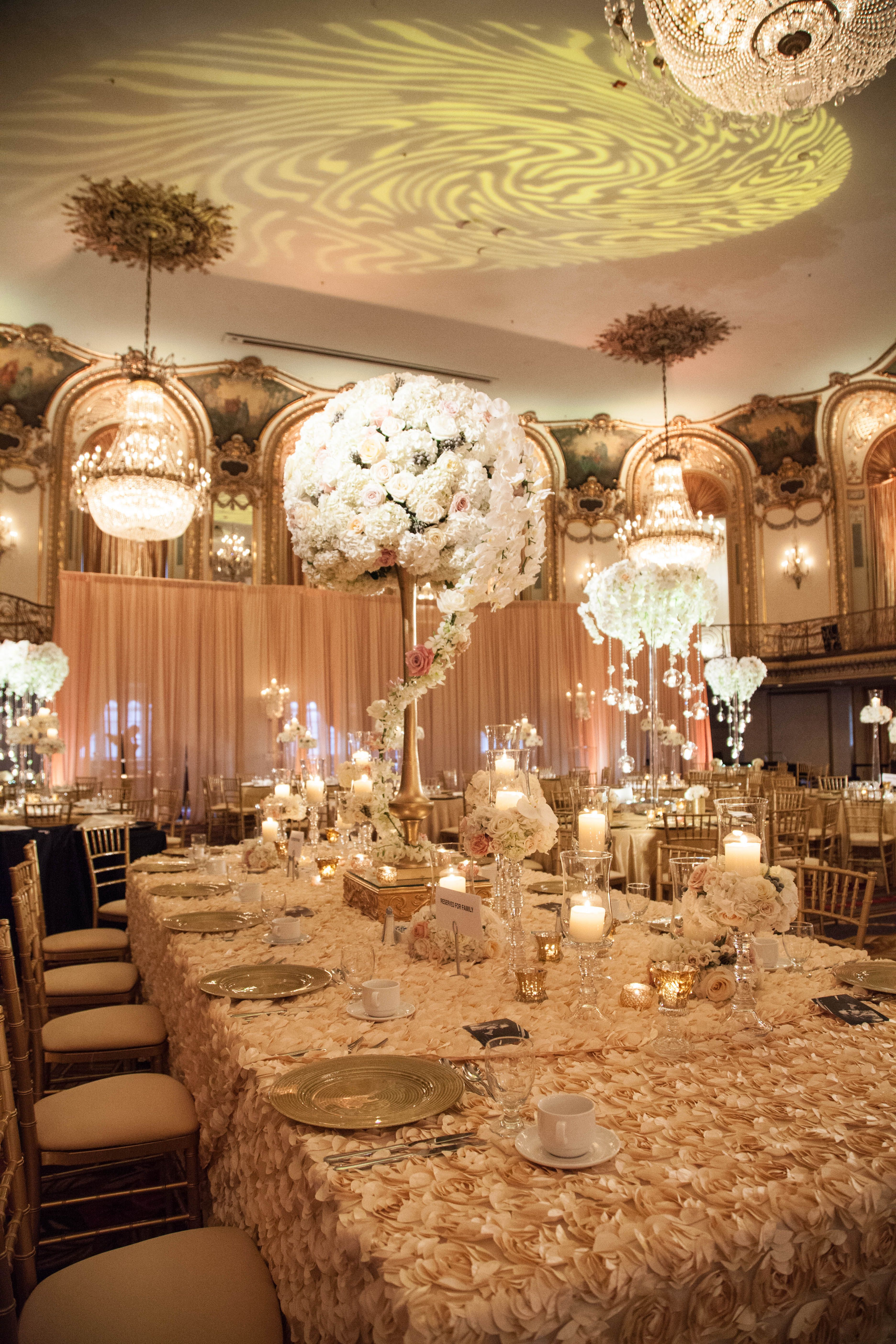 Beautifully Decorated Wedding Reception At The Hilton Chicago Wedding Table Decorations Diy Luxury Wedding Centerpieces Wedding Table