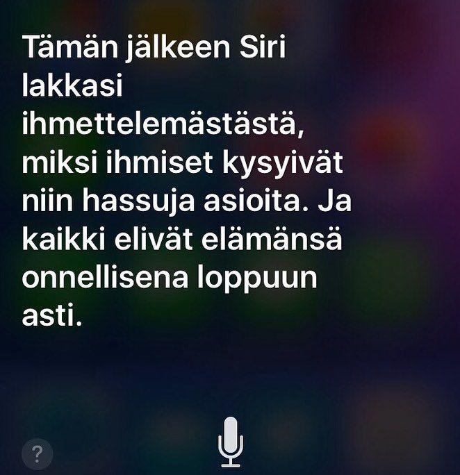 Applen Siri osaa nyt suomea. Mutta pieni kirotusvire löytyy kun pyytää Siriä kertomaan tarinan. Siri tietysti myös lukee sanan väärin #apple #ios #siri #typo #t #potkukelkkacom #tellmeastory