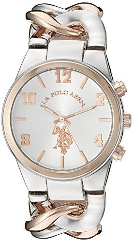 aad55a934f9 U.S. Polo Assn. Womens Quartz Metal and Alloy Casual Watch Color Two Tone (
