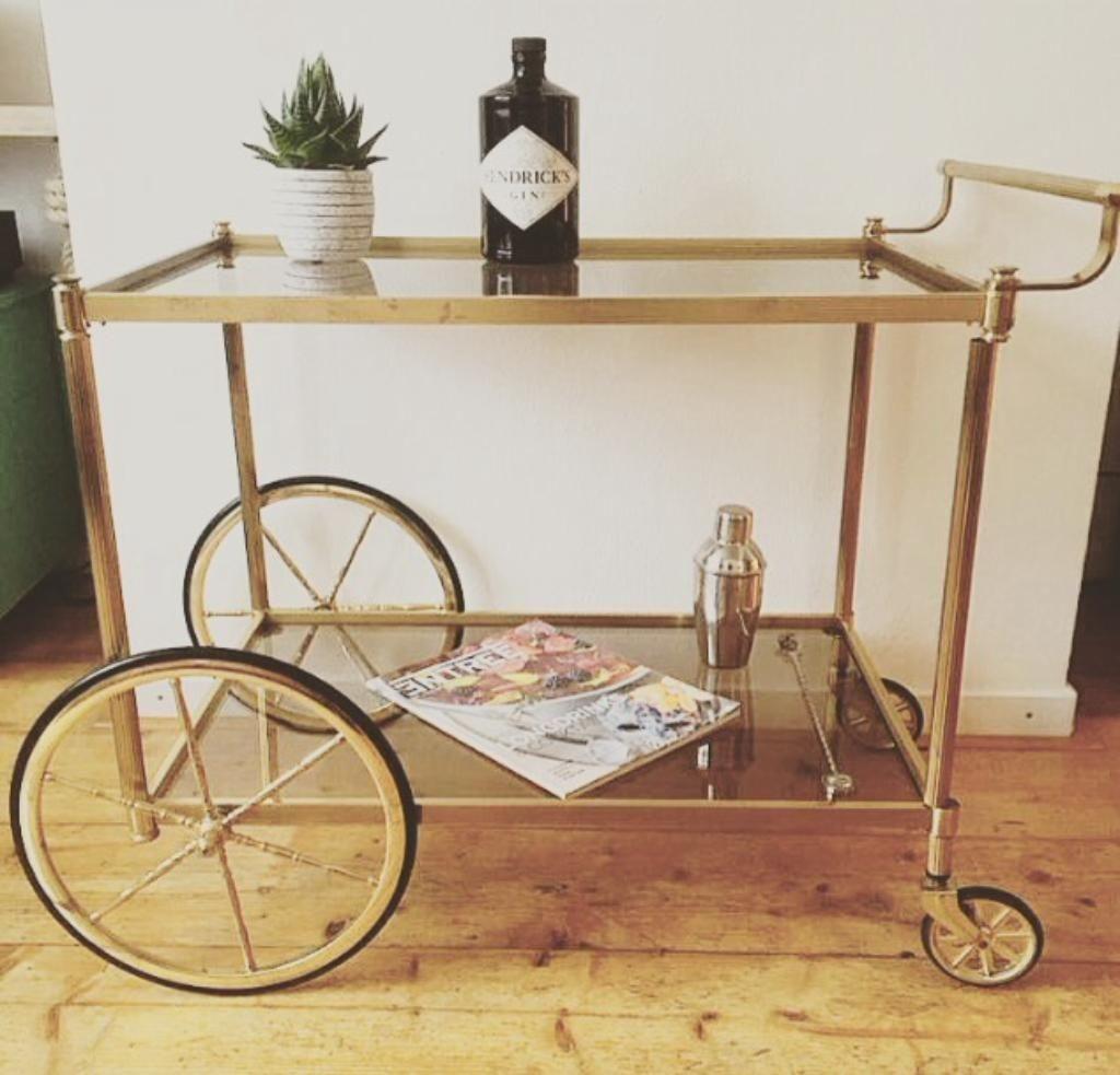 Vintage messing serveerwagen/bar cart/trolley (jaren 40