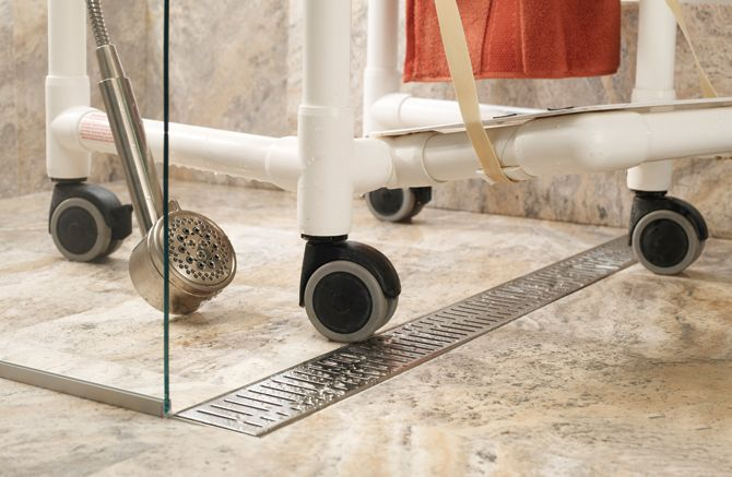 adjusting your home for accessible living linear drain wheelchair