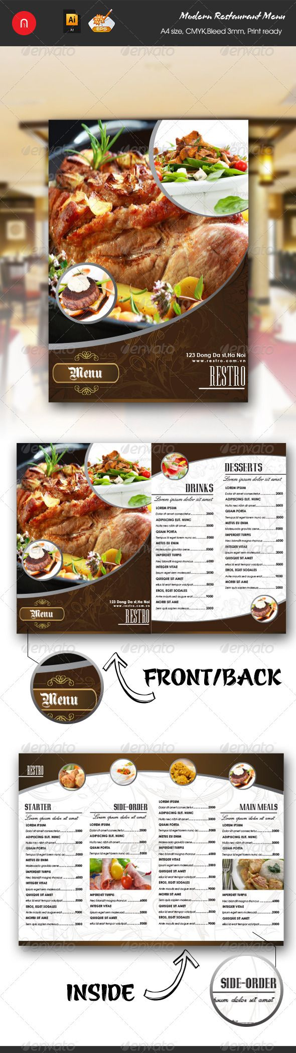 Modern Restaurant Food  Drinks Menu  Modern Restaurant Menu
