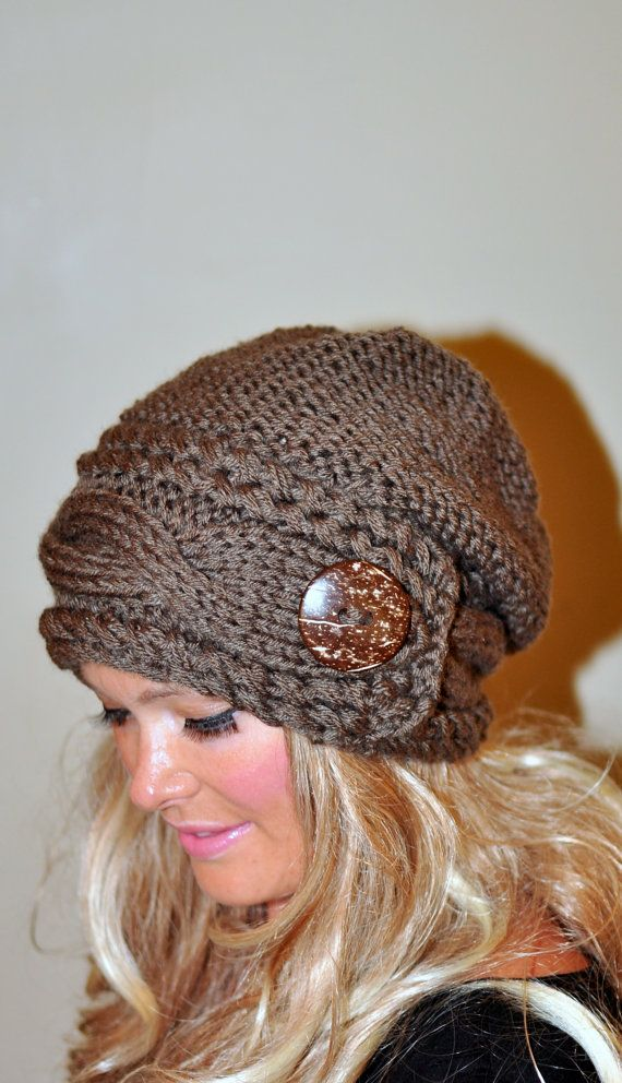 Slouchy Hat Slouch Beanie Cable Button Hat Hand Knit Winter Women Hat  CHOOSE COLOR Taupe Brown Milk Chocolate Fall Chunky Gift under 50 b8c91201ad7