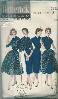 An original ca. 1950's Butterick Pattern 7473.  Mix-matchables.  (A)  V-necked blouse with abbreviated sleeves.  (B)  Bolero jacket with slightly scooped, cuffed neckline, below-elbow sleeves.  (C)  Flared skirt, buttoned front.  (D)  Slim skirt.