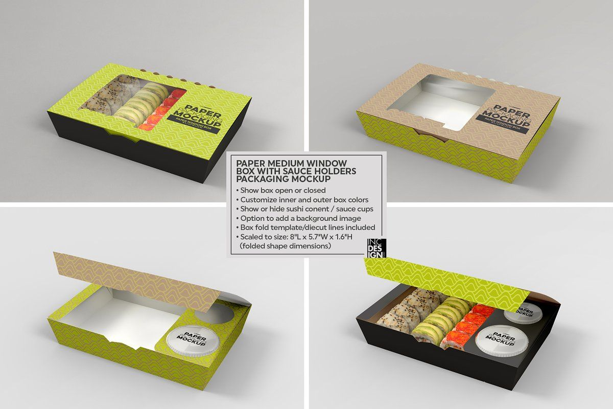 Download Paper Window Sushi Box Medium Mockup Food Box Packaging Branding Design Packaging Sushi